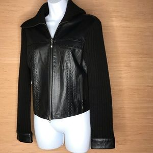 Jackets & Blazers - Genuine leather and wool black moto jacket